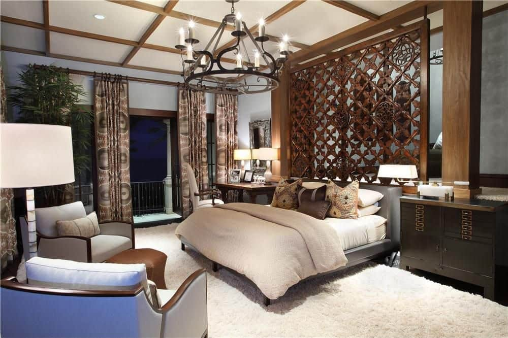 Bedroom with patterned bed head