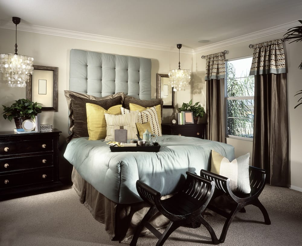 Bedroom with soft padding hanging chandliers