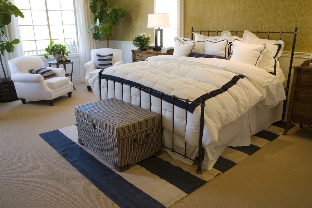 Bedroom with soft white linen fragile frame