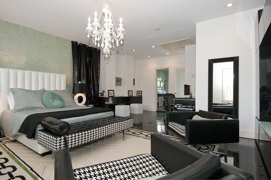 Large bedroom modern theme chandlier glassy wall