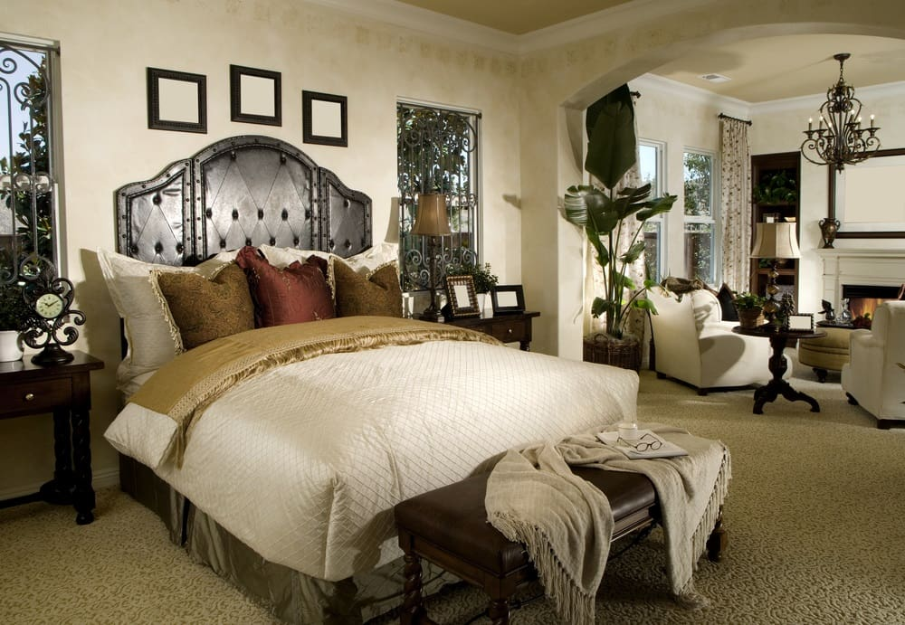 Large bedroom white theme with small living room