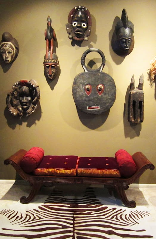 African masks on wall