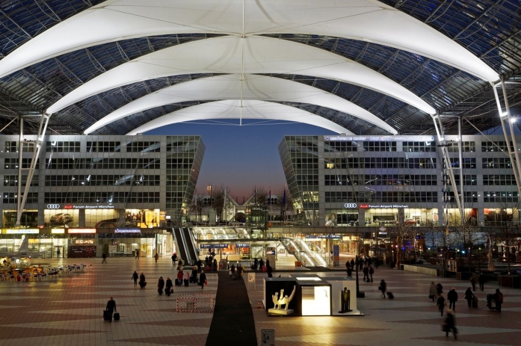 Munich Airport Center at Dusk