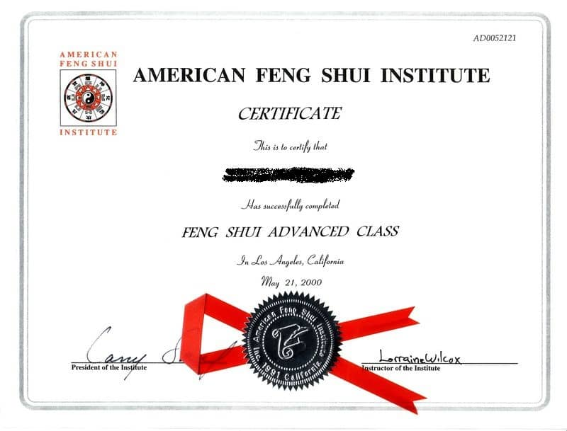 A sample feng shui certification from American Feng Shui Institute.