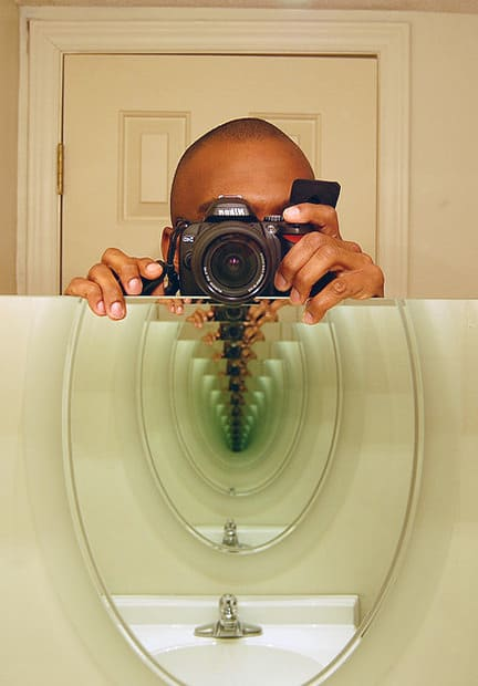 """An """"imperfect mirror"""" will have greenish color at the end of the mirror tunnel."""