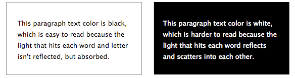 Which one is easier to read? The white text on black or black text on white?