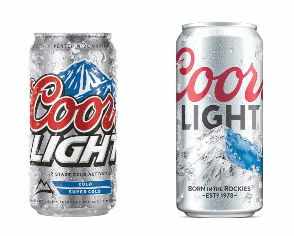 Coors Light beer uses blue and white to convey ice-cold beer brewed from mountain springs.