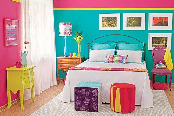 The colors of this bedroom is too vibrant and energetic for proper sleep and rest.
